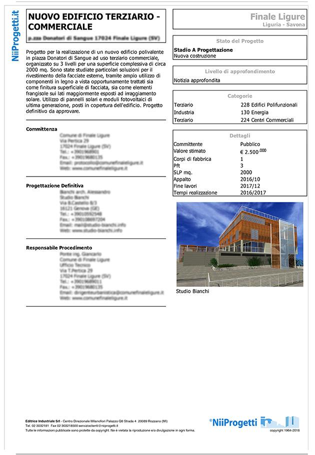 notizia nuovo edificio polifunzionale a Finale Ligure