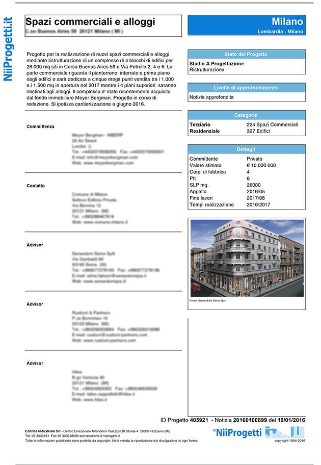 notizia spazi commerciali e alloggi Milano