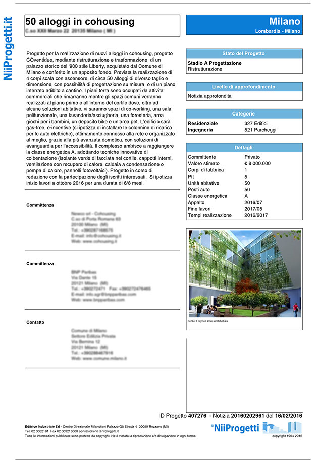 notizia 50 alloggi in cohousing Milano