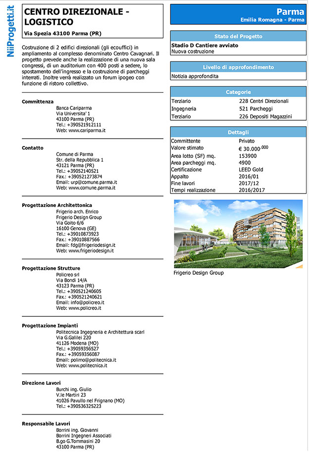 centro direzionale logistico Parma