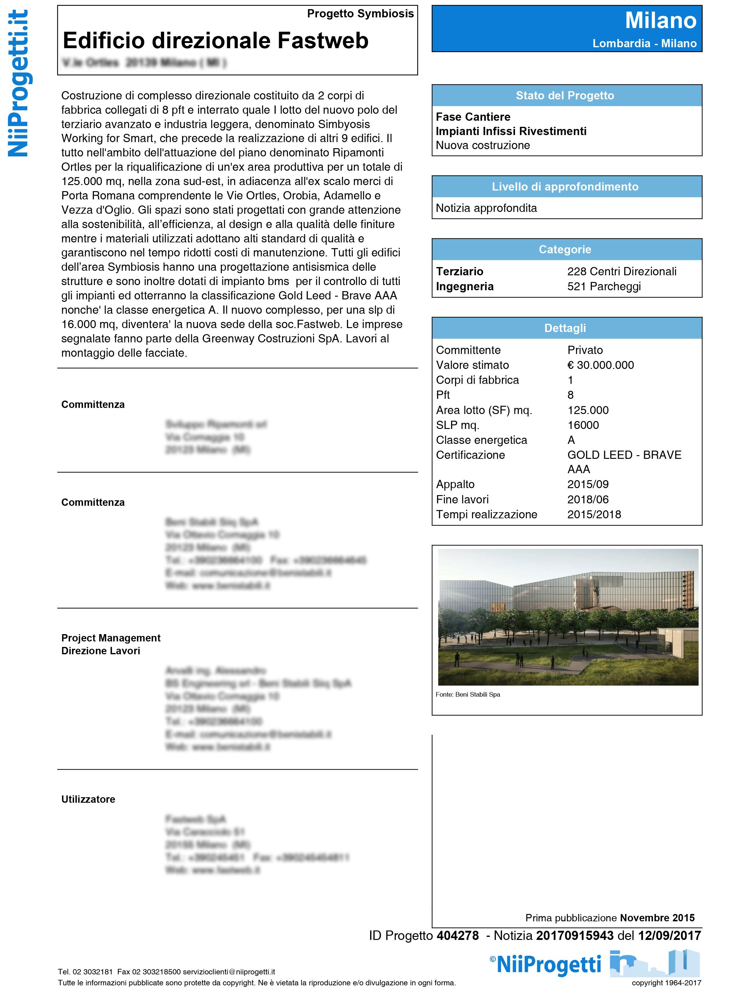 Fonte Greenway Costruzioni SpA